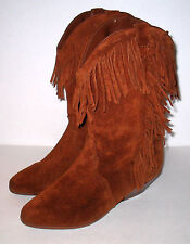 Ladies 8 Rusty Brown Suede WESTERN COWGIRL FASHION BOOTS
