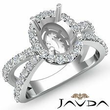 Unique Diamond Engagement Ring 18k White Gold Oval Semi Mount Halo Set 0.75 Ct.