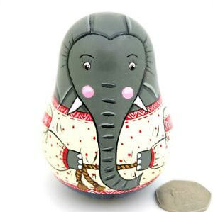 Cute ELEPHANT Wobbly doll ROLY POLY BOY signed RUSSIAN HAND PAINTED SMALL signed