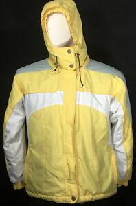 Fitz-Wright Yellow Winter Jacket Coat W Hood Zipper Pockets Size Small