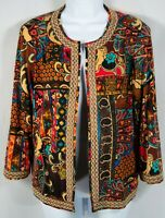 Joan Rivers Womens Jacket Size M medium Open Front Blazer Brown Floral Paisley