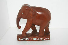 Hand Carve Teak Wood Elephant Round-Up Figurine Tourism Authority Thailand 1987