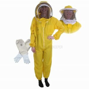 Basic Overalls Beekeeping Yellow, Round Veil Veil to fencing & Gloves
