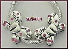 2 of Mother Daughter Butterfly Double Sided Fits European Charm Bracelet R130