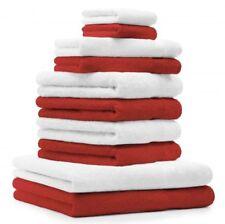 """Lot de 10 serviettes """"Premium"""" blanc et rouge, 2 serviettes de bain, 4 serviette"""