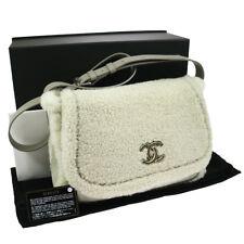 Authentic CHANEL CC Logos Mouton Fur Cross Body Shoulder Bag EXCELLENT JT06141