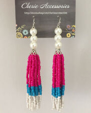 Pearl White, Pink, Blue Multi Colors Mix Seed Beads Drop Dangle Earrings