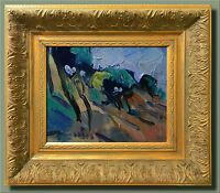 JOSE TRUJILLO SIGNED CANVAS MODERN Hillside Trees Oil Painting FRAMED MODERNIST