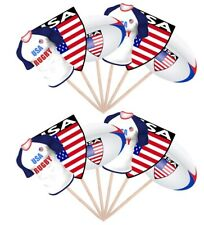 12 Rugby Party Food Cup Cake Picks Sticks Flags Decorations Toppers USA