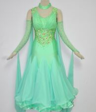 Ballroom Waltz Smooth Competition Dance Dress light green georgette skirt Tango