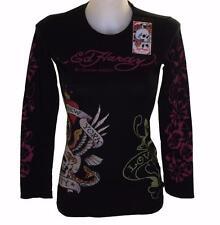 Women's Ed Hardy Long Sleeve Platinum Diamante T Shirt Black Stretch New York