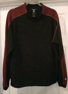 Kuhl Mens Alfpaca Fleece Sweater Large Brown Colorblock Long Sleeve READ DESC.