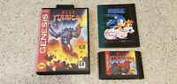 Mega Turrican Sega Genesis Data East Game Cartridge Cart Case Box Poster lot !!!
