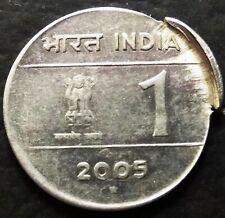 India Republic one Rupee 2005-H extra metal error coin.
