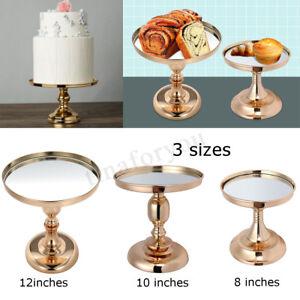 8 10 12 Inch Gold Plated Mirror Cake Stand Glass Round Wedding Display Pedestal