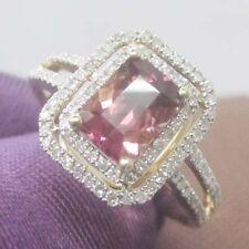 6x8mm Emerald Cut 14kt Yellow Gold Pink Natural Tourmaline Natural Diamond Ring