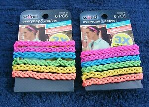 2 Packs Elastic SCUNCI Hair Ties Everyday & Active Running Soccer 6 ct x 2 packs