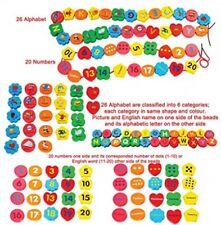 Allacciatura Perline Numeri e Lettere Da in Legno di apprendimento Autismo Sensoriale Giocattoli Set 46PC