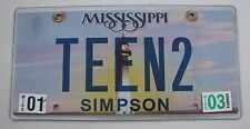 """MS  Vanity License Plate """"TEEN 2"""" TEENAGER TEED IDOL SWEET SIXTEEN SEVENTEEN 18"""