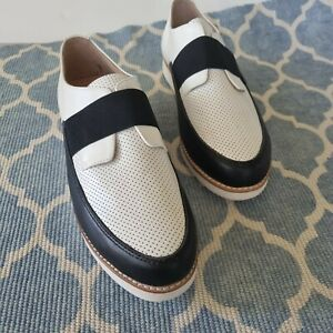 Walnut NEW! Mila Slip On Size 41/US 10.5 Black and white slip on loafer leather