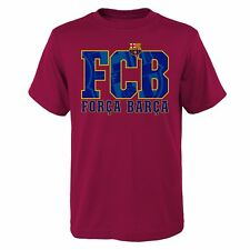 "FC Barcelona Camiseta Juventud ""Forca barca"" equipo Crest/Logo Talles S-XL"