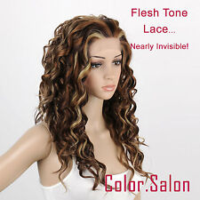 Hand-Tied Flesh Lace Front Synthetic Wigs Long Curly Multi-color 99#6/12/24(F)