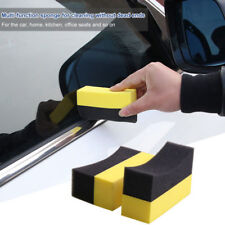 Auto Wheels Brush Tire Hub Clean Waxing Polishing Applicator Curved Foam Sponge