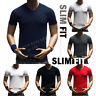 Men's T-Shirt Slim Fit Plain V-Neck Muscle Fashion Casual GYM Short Sleeve S-3X