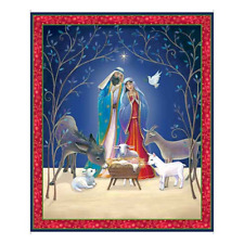 Christ is Born Christmas Religious Fabric Panel 100% Quilters Cotton Jesus