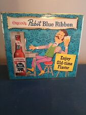 Vtg 1960s pabst beer statue figure guy playing piano Toc tin over cardboard sign