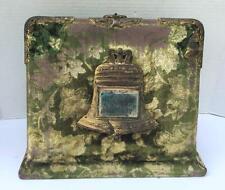 Antique Victorian Velvet Standing Photo Album Liberty Bell Mirror Empty Picture