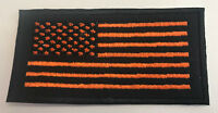 Custom  Biker Vest Patch US Flag ORANGE/BLACK with BLACK BOARDER (Iron/Sew on)