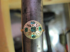 #176 ladys 14k gold 5 natural  emerald ring