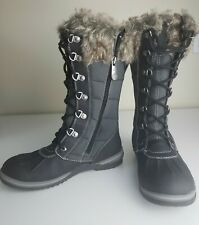 Blondo Sport Black 3m Thinsulate Waterproof Lace Up Tall Snow Boots Womens Sz 7m