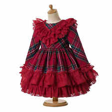 Red Christmas Lace Dress Girls Tartan Formal Party Ruffled Dresses Autumn Winter