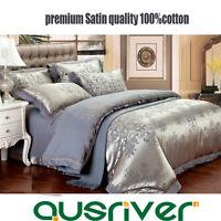 Premium 4pc Satin Purple Double/Queen/King Size Bed Quilt/Doona/Duvet Cover Sets