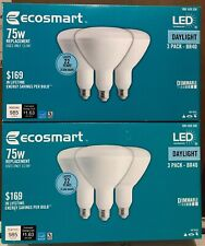 (LOT OF 2) EcoSmart 75W Equivalent Daylight BR40 Dimmable LED Light Bulb 3 Pack