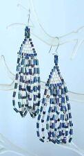 Earrings 1970s vintage Iridescent Glass Bead Waterfall