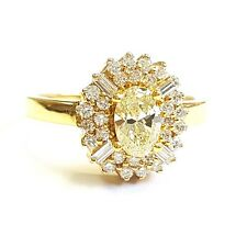 1.00Ct Oval Diamond Halo Engagement Ring in 18k Yellow Gold