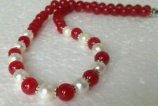 8mm Red Jade 8mm White  Shell Pearl necklace 18""