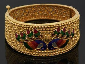 Heavy 22K yellow gold 29.4mm wide enamel bird bangle bracelet