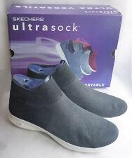 Skechers Go Step Lite Ultrasock 2.0 Black White Knitted Slip On Trainers Size 8