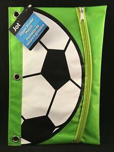 Jot - Soccer - Green - Binder Pouch - Pen / Pencil / Supply Holder Case