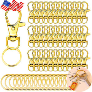60PCS Gold Key Chain Clip Hooks Set Lanyard Lobster Claw Clasps for Keychain DIY