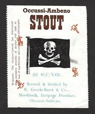 Occussi Ambeno STOUT label with alcohol warning ex Jim Czyl