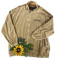 Pelle Pelle Marc Buchanan Vtg 90's Velour Track Suit Jacket Full Zip Brown XXL