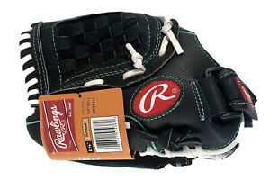 "Rawlings 11.5"" Left Hand Softball Glove Girls Fastpitch Black White Colorway New"