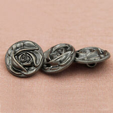 12PCS Hematite Metal Shank buttons Round 18mm 21mm Rose Carving Coat Sewing