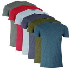 Mens Crew Neck Melange Short Sleeve Casual TShirt Plain Summer Tee Top Size S-2X