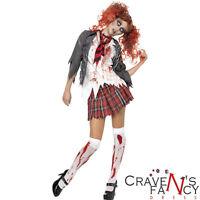 Zombie School Girl Costume Halloween Fancy Dress Schoolgirl Uniform UK 4 - 18